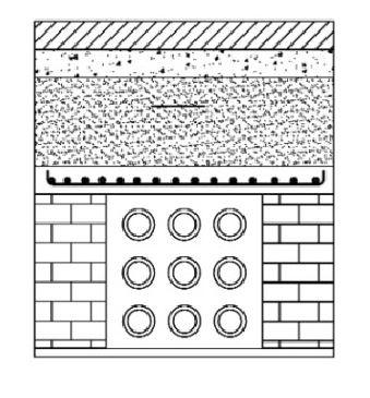 """Esoinsas-cruce de vías V0, V1, Y V2 detalle ductos zanjas y rellenos, 9 ductos diámetro ø 4"""" CS 221"""