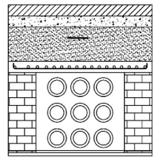"""Esoinsas-cruce de vías V0, V1, Y V2 detalle ductos zanjas y rellenos, 9 ductos diámetro ø 6"""" CS 221-1"""